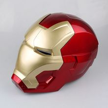 The Avengers Iron Man Helmet Cosplay Helmet Ring Sensor Switch Light Eyes PVC Action Figure Collectible Model Toy 20cm zy578