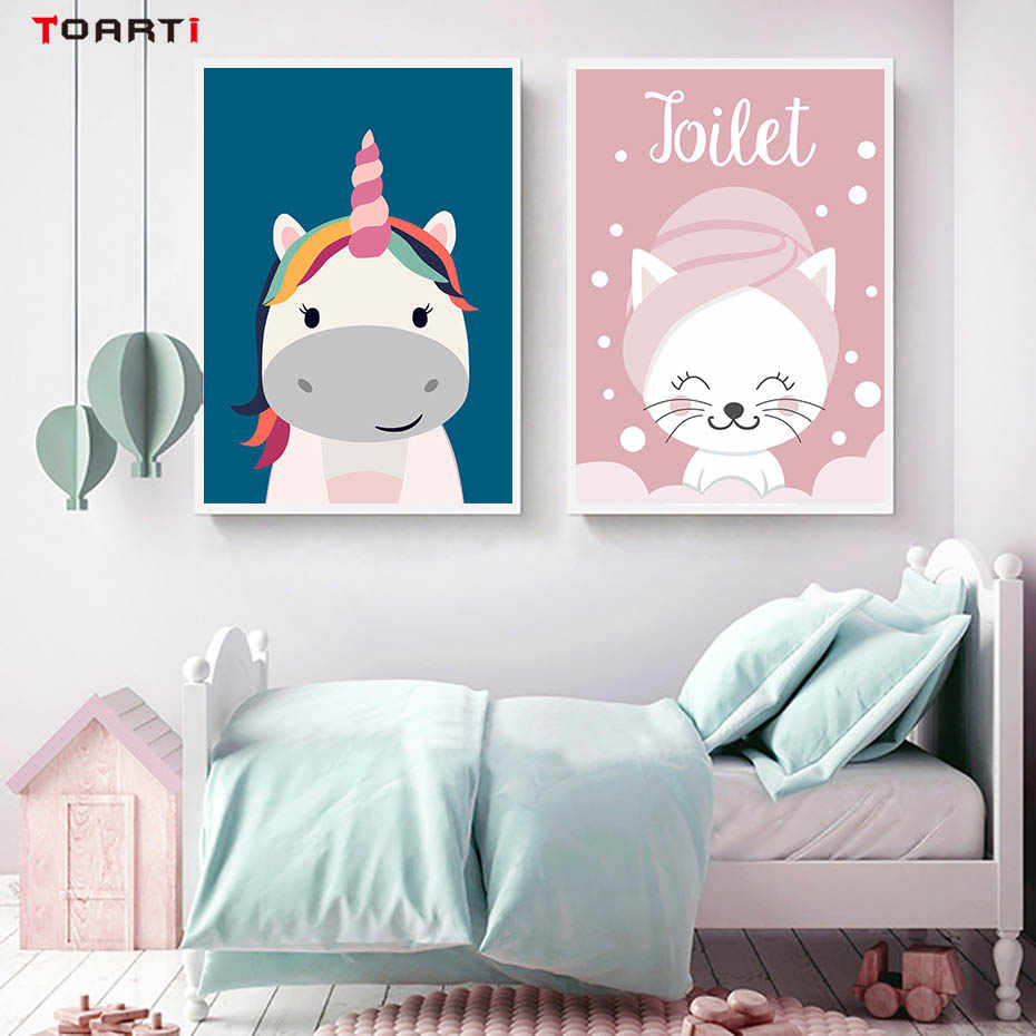 Cartoon Cute Cat Unicorn Quote Posters And Prints Canvas Art Painting Nordic Animals Wall Pictures For Kids Nursery Rooms Decora