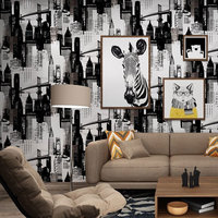 Free Shipping 3D 1000 53CM PVC European Style Ancient Mural Black White Sketch Casual Cafe Wallpaper