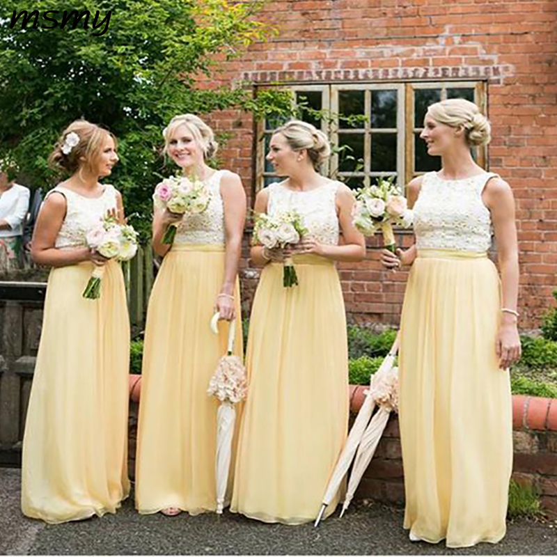New Elegant A-Line   Bridesmaid   DressesSleeveless Two Pieces Chiffon Cheap Long   Bridesmaid     Dresses   With Lace Custom Made
