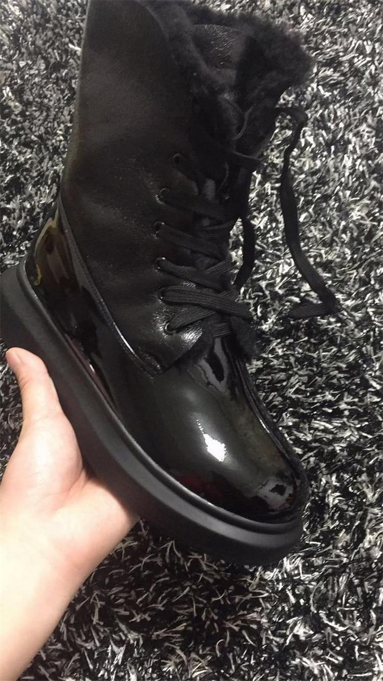 Arriba Cortas Cruz Calientes 2018 Zapatos atado As Pic Pic Grueso Inferior Del Charol Invierno Becerro as Mujeres Lana Nieve Botas 88F71OB