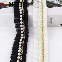 5Yards Chiffon Beads Lace Ribbon Ruffle Pleated  Trim Skirt Cuffs Doll  Wedding Dress Fabric DIY Garment Accessories asymmetric ruffle trim ditsy skirt