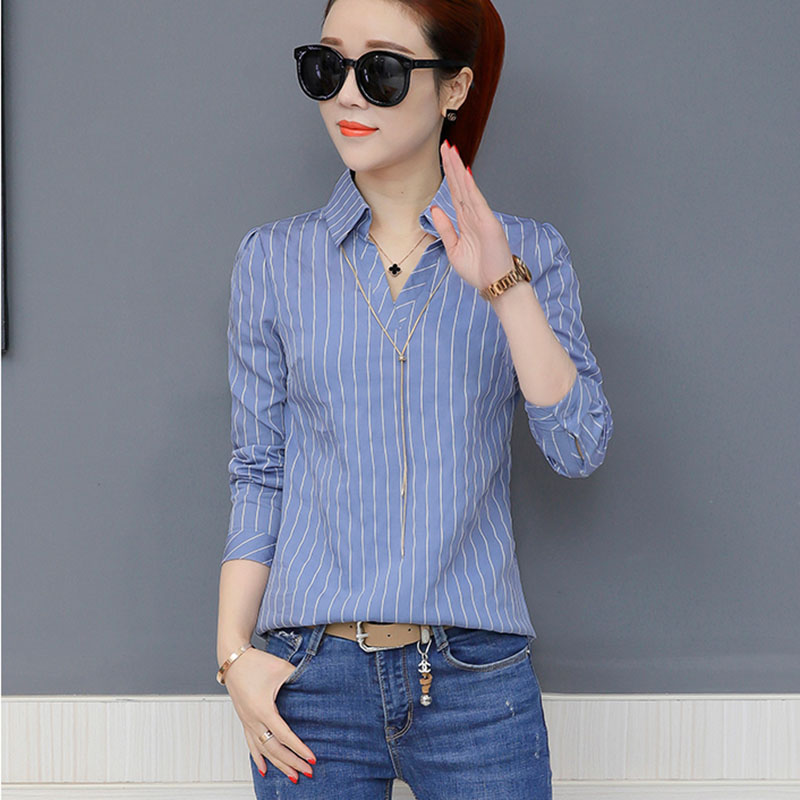 2018 Women Spring Summer Style Chiffon   Blouses     Shirts   Lady Casual Office Work Wear Striped Blusas Tops Feminina DF1562