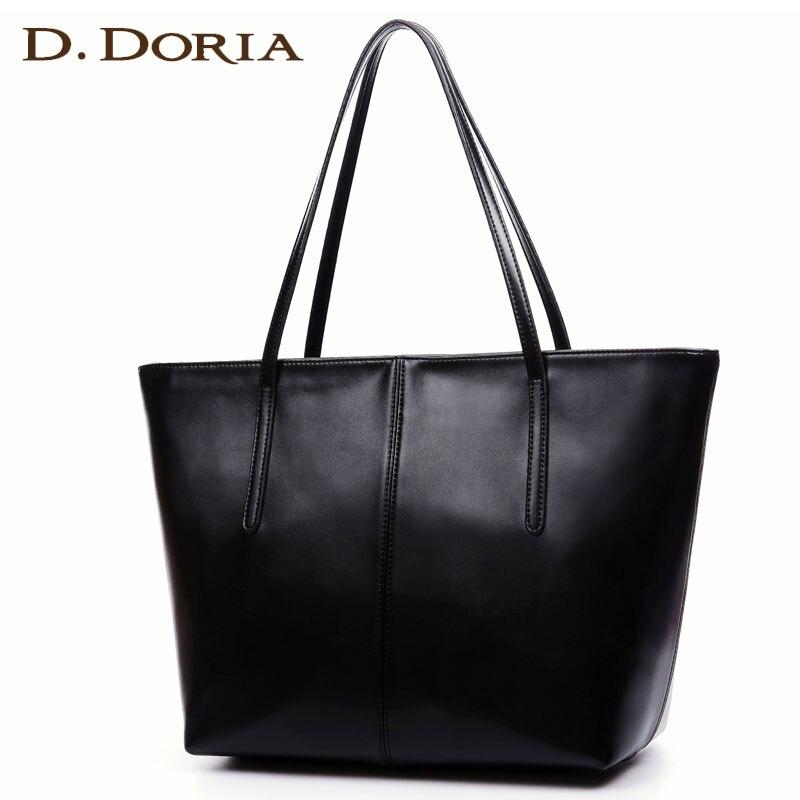 D.DORIA Famous Brand Casual Tote Female Leather Shoulder Bag luxury handbags Women bags designer Ladies Zipper Soft Shopping bag