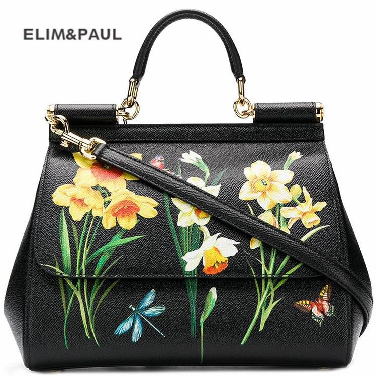 Marque de luxe sicile ethnique fleur imprimé en cuir véritable sac fourre-tout femmes Platinum sacs sac à main sac à main femme sac à bandoulière/sac à main