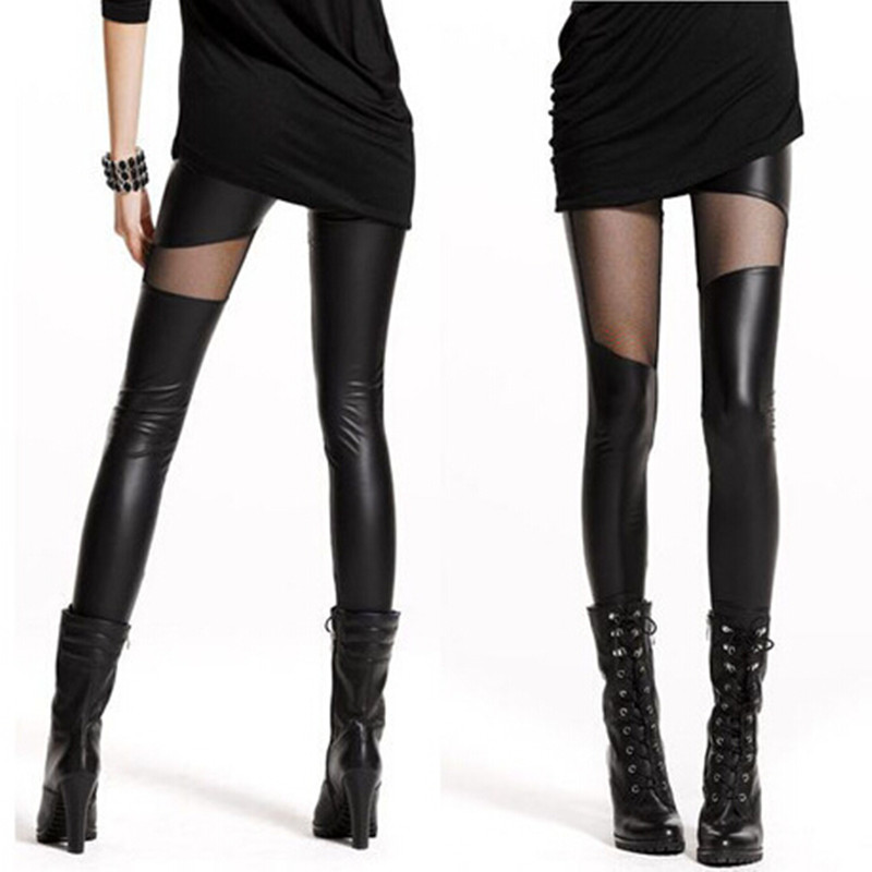 Hot Sexy Women Pants Slim See Through Rock Punk Leggins Leather Trouser 2019 Spring New Stylish Patchwork Stretch Black Leggings