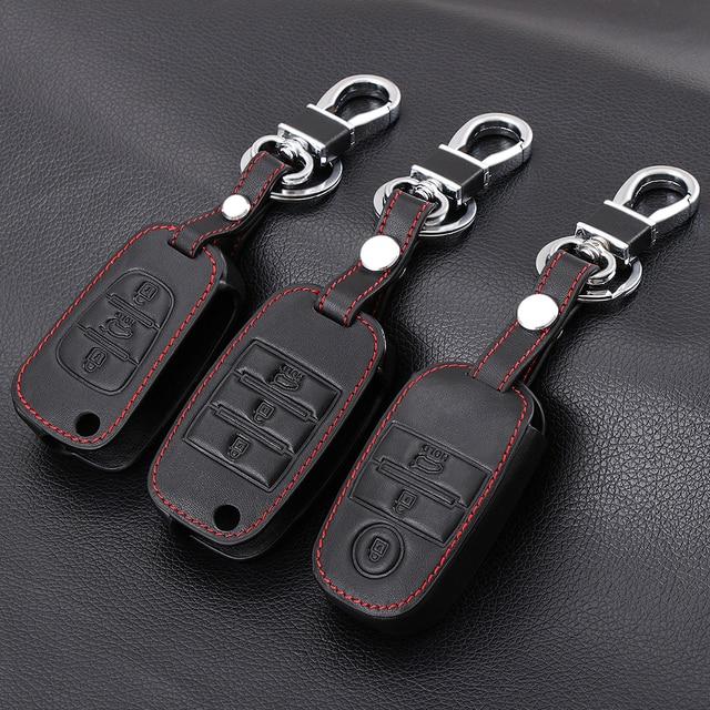 Car Key Leather Case For Kia Rio Sportage R QL KX5 Venga Ceed Cerato Sorento K2 K3 K4 K5 Key Ring Leather Key Bag Keychain