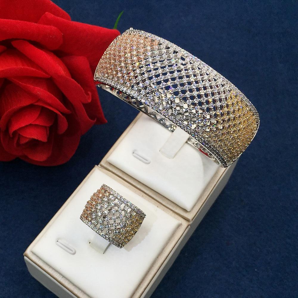 GODKI Fashion Luxury Super Shiny Hollow AAA Cubic Zirconia Women Width Bracelet Bangle And Ring Set stylish golden hollow rounded rectangle hasp bracelet for women