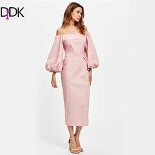 Didk с открытыми плечами Фонари рукавом карандаш Платья осень розовый с длинным рукавом Плотная длинное платье Для женщин элегантное праздничное платье