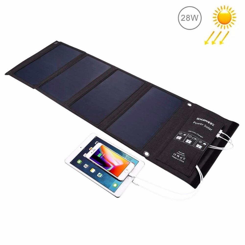 28 W USB chargeur de panneau solaire double USB batterie portable solaire portable chargeur de voyage pour iphone/samsung/xiaomi/écouteurs/caméra