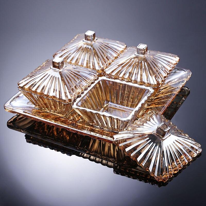 Assiette à Dessert créative grand avec couvercle compartiment quatre fruits assiette bonbons plateau de rangement avec plateau fruits plaque ensemble ZP3181446