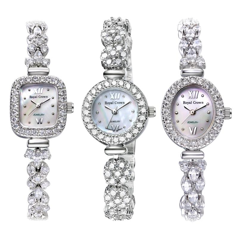 Montre pour femme japon Quartz mode bijoux de luxe heures de cristal Bracelet en nacre strass fille cadeau couronne royale boîte