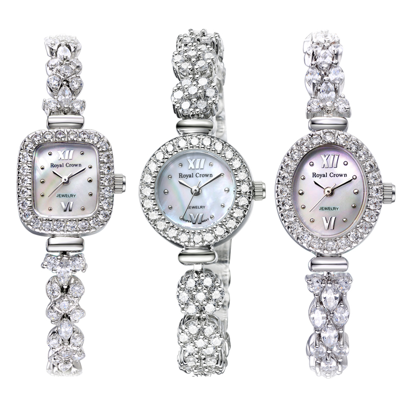Women's Watch Japan Quartz Fashion Luxury Jewelry Crystal Hours Mother of pearl Bracelet Rhinestone Girl Gift Royal Crown Box-in Women's Watches from Watches    1