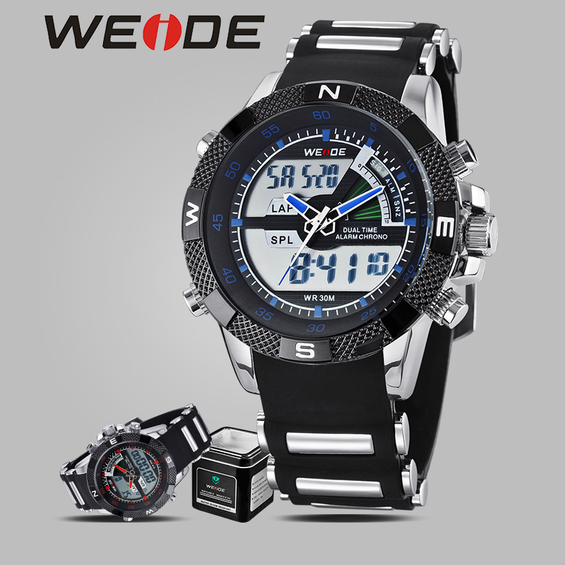 цены  WEIDE luxury brand watches analog digital sport quartz camping Wrist Watch men military Silicone Bracelet with Watch box genuine