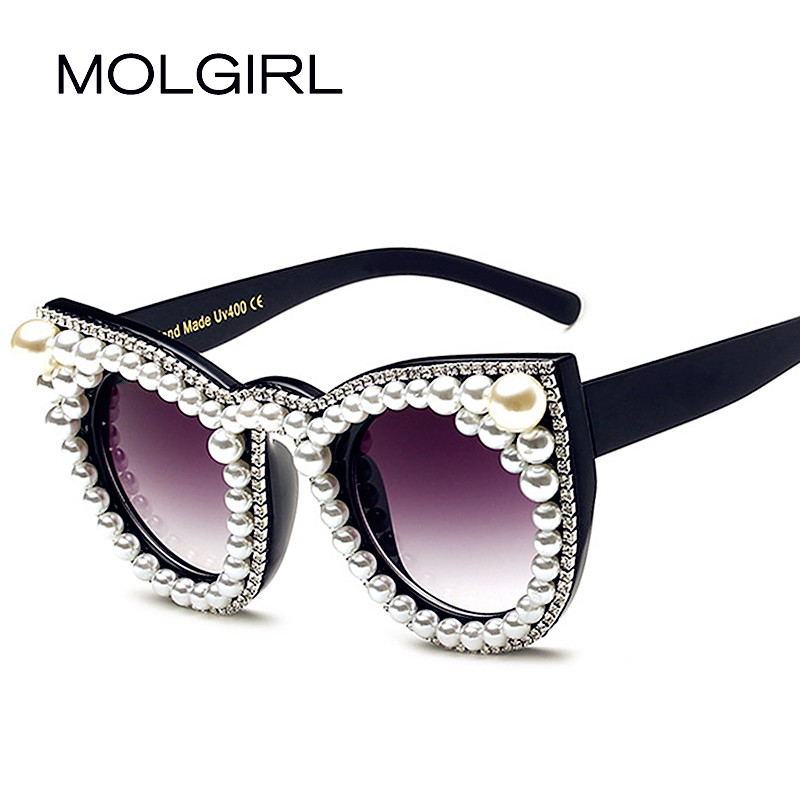 MOLGIRL Brand designer Luxury women Sunglasses Pearl with Rhinestone Vintage Cat eyes Ladies Shade Big Size