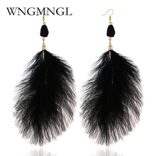 WNGMNGL Bohemia Charm 4 Colors Large Feather Drop Earrings for Women Girls Wedding Party Romantic Boho Long Jewelry