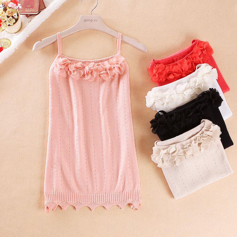 2017 Summer New Womens Cotton Crop Tops Fashion Sexy Camis Crochet T shirt Vest Sleeveless Knitted Tank with Flower Petals