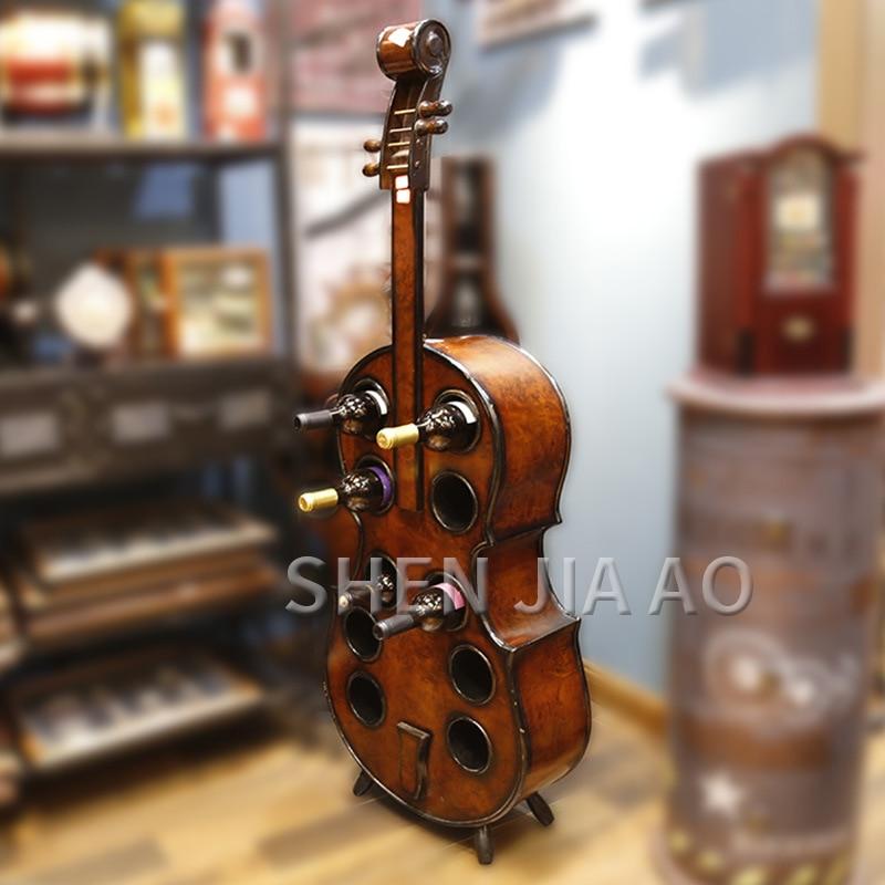 European Wooden Creative Cello Wine Rack 140CM Large Wine Cabinet  Creative Violin Wine Rack Bar Wine Cooler 1PC