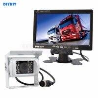 DIYKIT 12V 24V DC 7 inch TFT LCD Car Monitor + 4pin IR Night Vision CCD Car Camera Rear View System for Bus Houseboat Truck