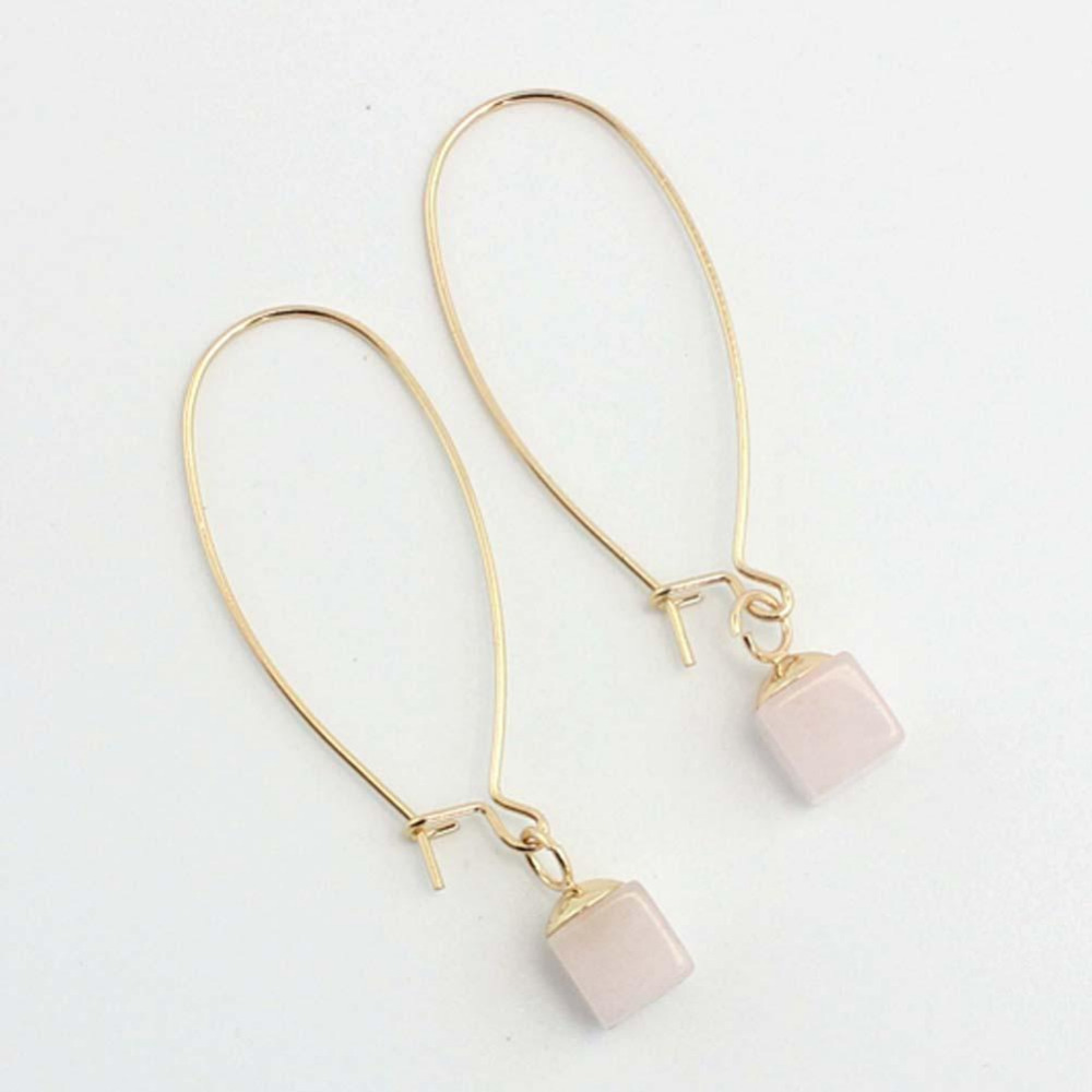 2017 Fashion 1 Pair Earrings Square Natural Stone Long Hook Ear Line  Earrings Pink Golden Metal