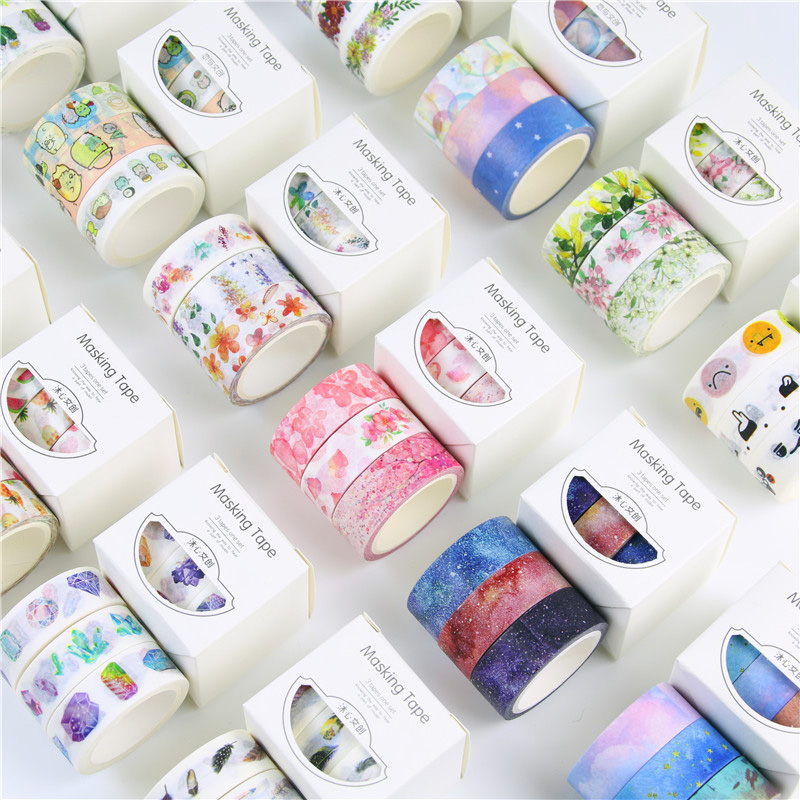 3Pcs/Box 1.5cm*5m Fresh Pattern Floral washi tape DIY decoration scrapbooking Planner masking tape adhesive kawaii stationery 3pcs box ancient chinese famous painting calligraphy peotry retro wooden box decoration washi diy planner scrapbook masking tape