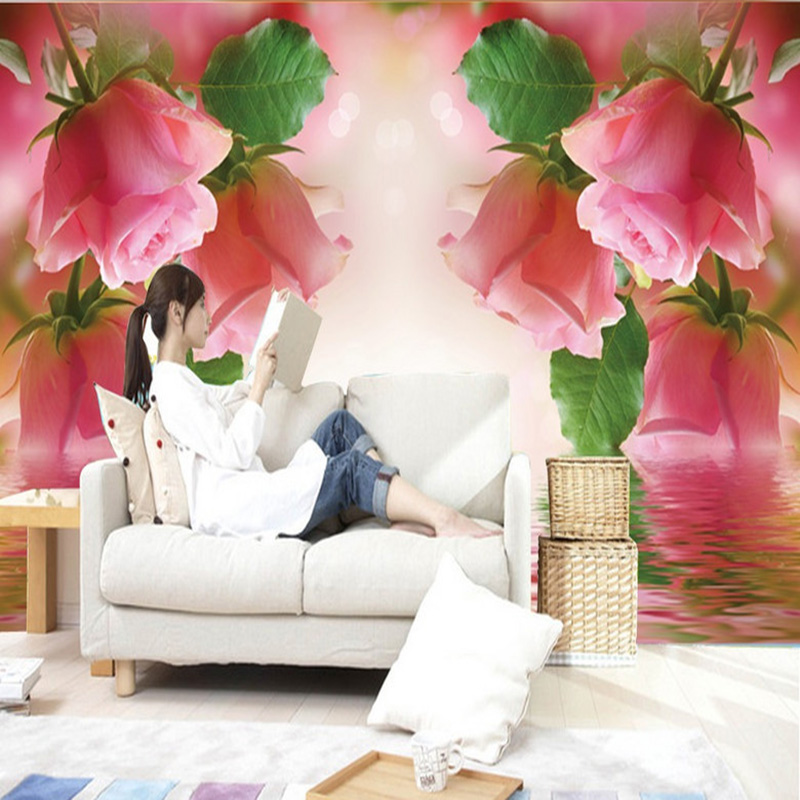 Living Room 3D Landscape Wallpaper Pink Rose Wall Mural Custom Photo Wall Paper For Walls 3D Non-Woven Wall Painting Home Decor