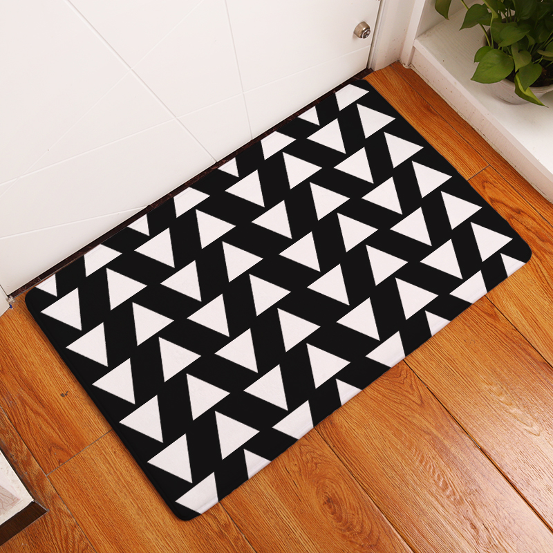 Homing Decoration Stair Carpets Black White Misread Triangle Geometric Puzzle Mats Light Thin Flannel Living Room Foot Pads Rugs