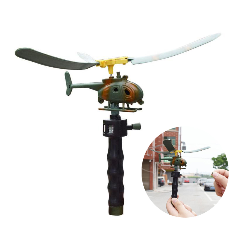 Aviation Model Copter Handle Pull Helicopter Plane Outdoor Toys For Kids Playing Drone Children's Day Gifts For Beginner