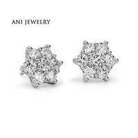 ANI Platinum Pt950 Women Stud Earrings 0 29 CT Certified I S1 Natural Diamond Hexagon Stud