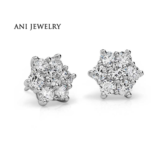 ANI Platinum (Pt950) Women Stud Earrings 0.29 CT Certified I/S1 Natural Diamond Hexagon Stud Earrings Brand Jewelry Customized