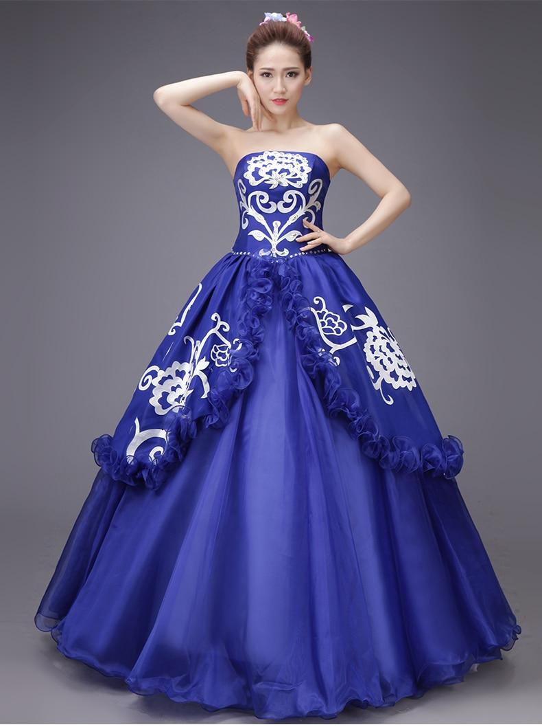 ୧ʕ ʔ୨100%real royal blue ruffled rhinestone beading medieval dress ...