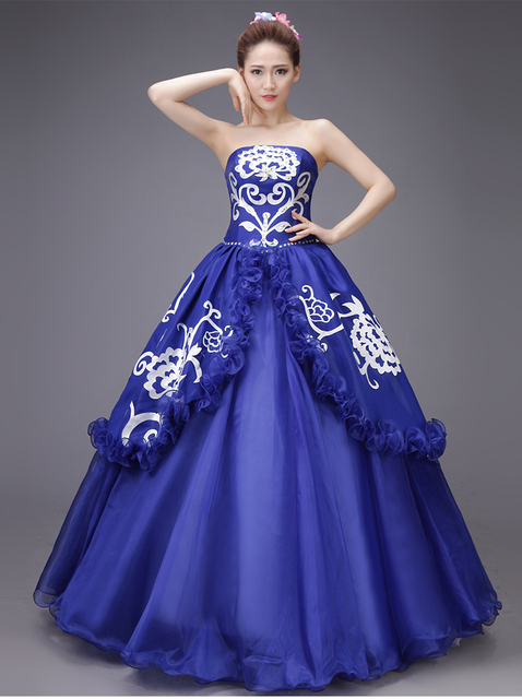 100%real royal blue ruffled rhinestone beading medieval dress Renaissance  Gown queen Victorian  Marie 1b1b24090c92