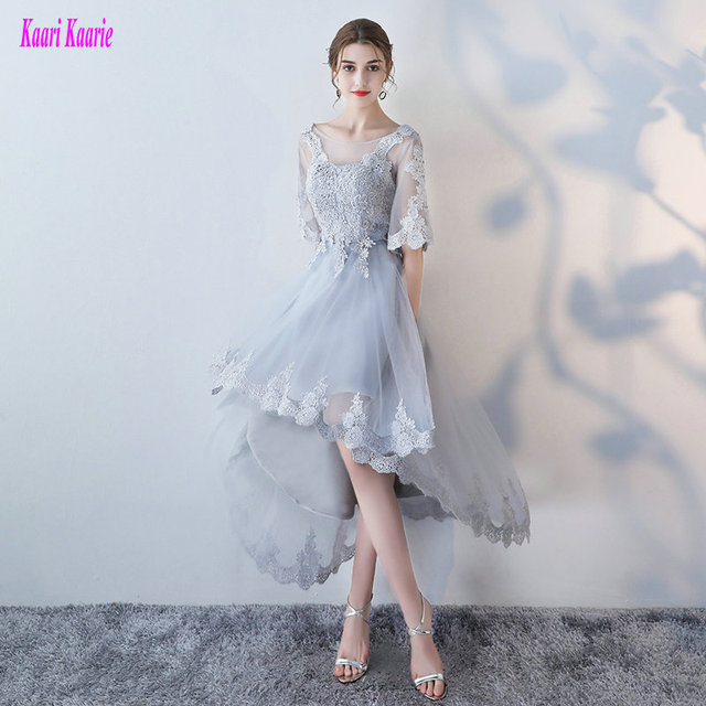 Fashion Silver Prom Dresses 2018 New Sexy Plus Size Prom Dress Scoop
