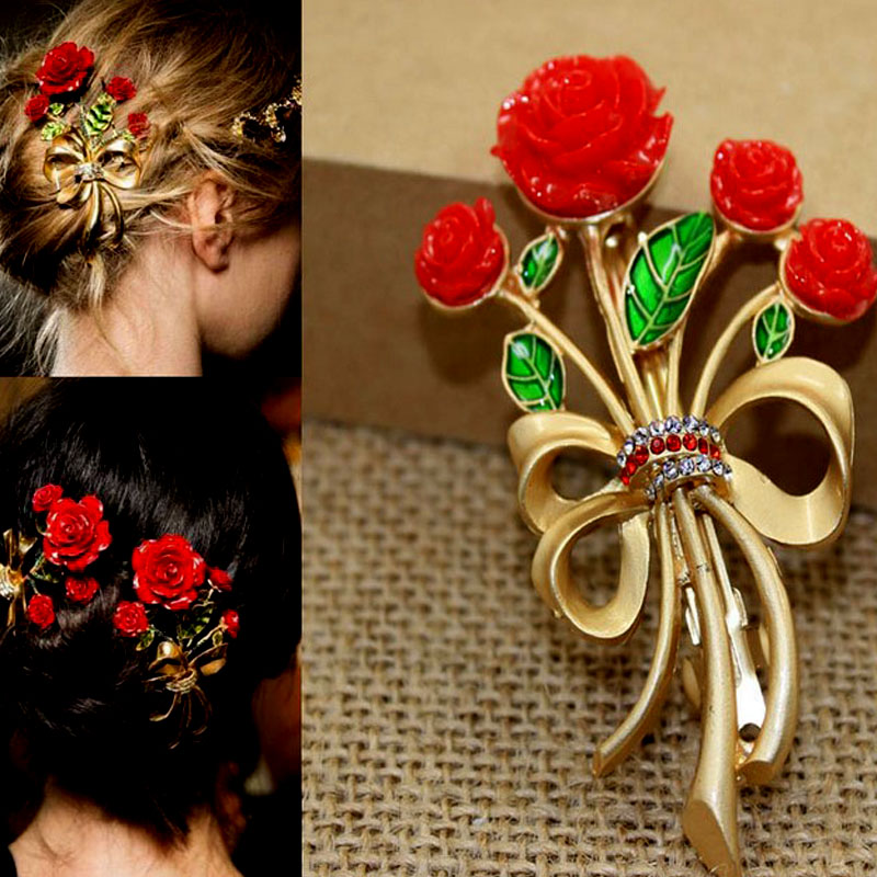 Hair Jewelry 2018 Gold Crystal Rhinestone Wedding Hair Accessories Bride Bridal Floral Hair Combs Red Rose Hairpin Women Gifts