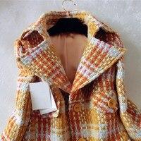 2017 señoras de la manera solapa esmoquin invierno celosía lana Coats chaquetas
