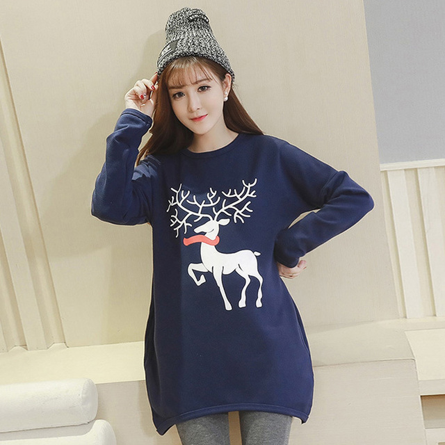 Winter Casual Fleece Print Deer Maternity Clothing Tops Long Sleeve Maternity Dress Thickened with Velvet Pregnancy Clothes