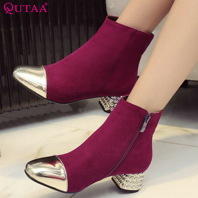 QUTAA 2017 Gray Elegant Women Shoes PU leather Square Med Heel Ankle Boots Round Toe Zipper Women Motorcycle Boots Size 34-43