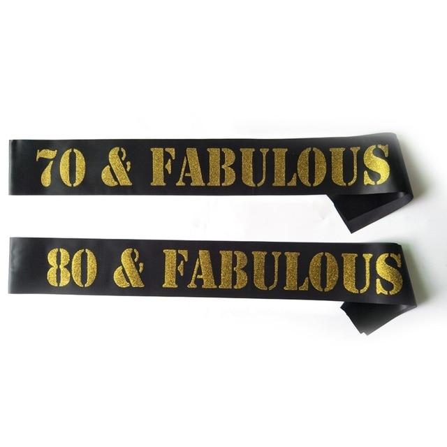 Gold Glitter Birthday Sash 70 80 FABULOUS Satin Women Men 70th 80th Party Decoration Celebration Ideas Supplies