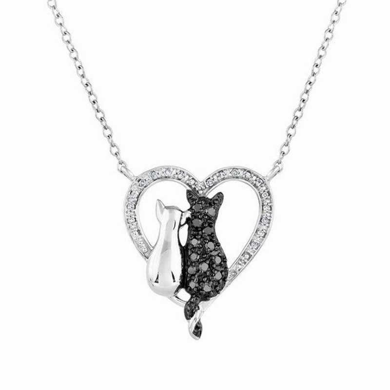 Adorável animal de estimação corrente colares encantos cristal preto e branco gato amor coração pingente colar para mulher jóias acessórios