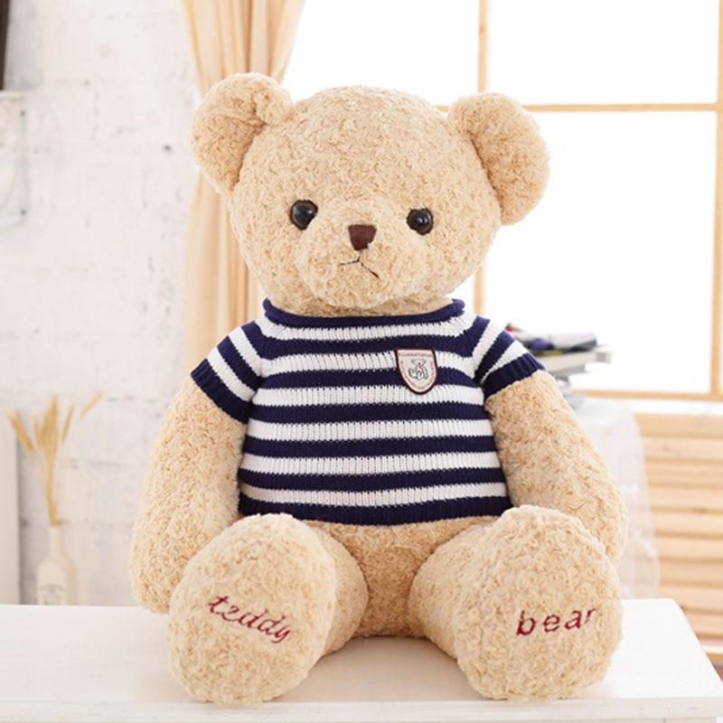 Haute qualité 80 cm énorme ours en peluche en peluche enfants jouets mignon porter pull ours bébé apparence poupée cadeau pour petite amie enfants