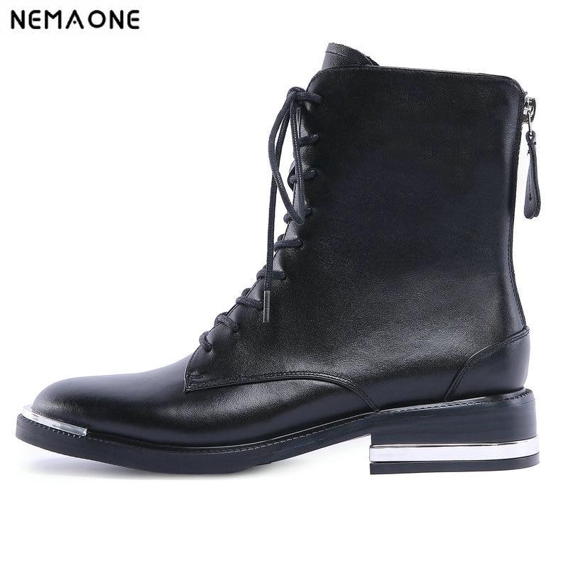 NemaoNe Women Ankle Boots Shoes Woman 2018 Spring autumn Genuine Leather Lace Up Shoes Punk Plus Size 42 Riding, Equestr Boots цена 2017