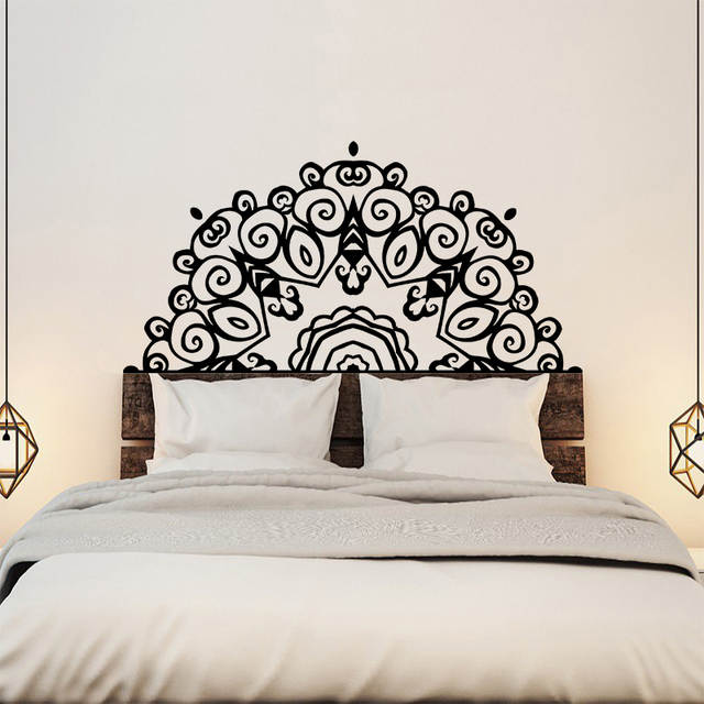 sports shoes 05aaa 29229 US $14.36 49% OFF|Large Headboard Wall Sticker Wall Decal Bed Bedside  Mandala Vinyl Kids Room Bedroom Giant Headboard Flower Home Decor-in  Wallpapers ...