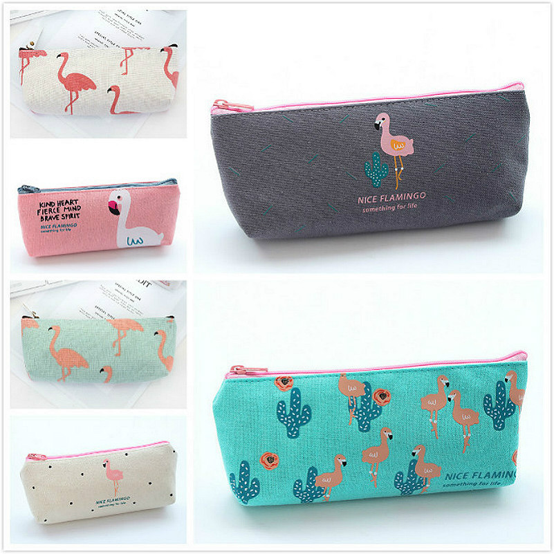 1PC Cute Flamingo Canvas Student Pencil Case School Stationery Storage Pen Bag Gifts Office Pencil Bags Kawaii Pencil Pouch