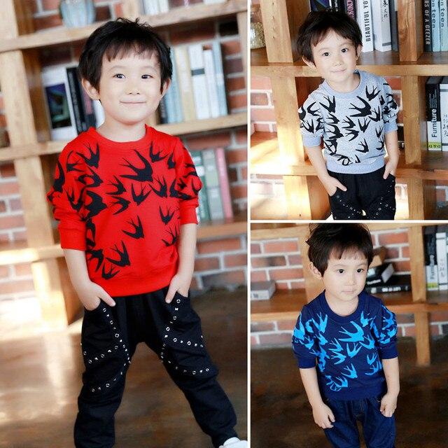 Новый 2016 мальчиков Осень зима нагрудные одежда костюм дети письмо футболка шорты костюм дети досуг одежда наборы