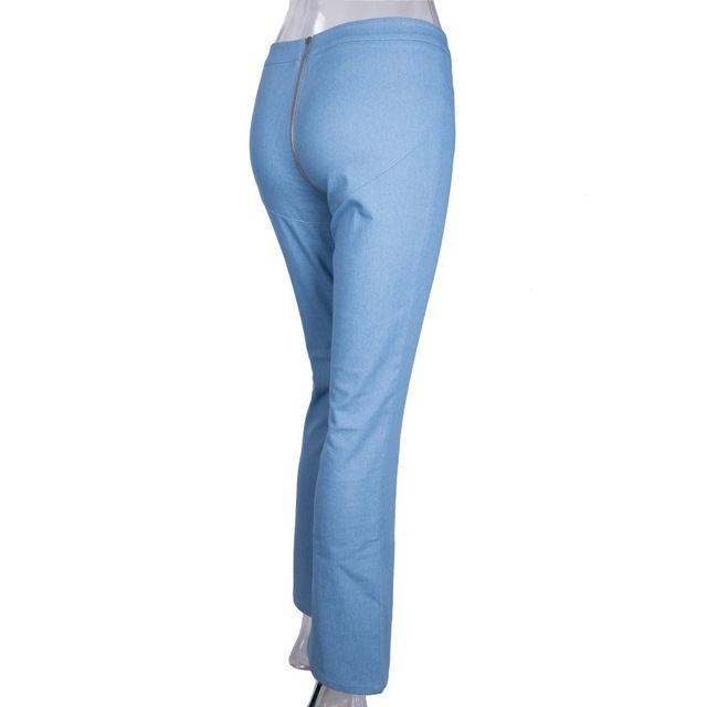 back double zipper Skinny fit vintage push up denim pants 5
