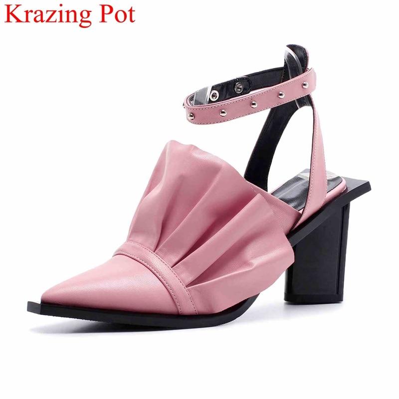 2019 di modo punta a punta tacco quadrato delle donne sandali gladiatore rivetto dolce elegante locale notturno di estate delle increspature del partito scarpe da sposa L31-in Tacchi alti da Scarpe su  Gruppo 1
