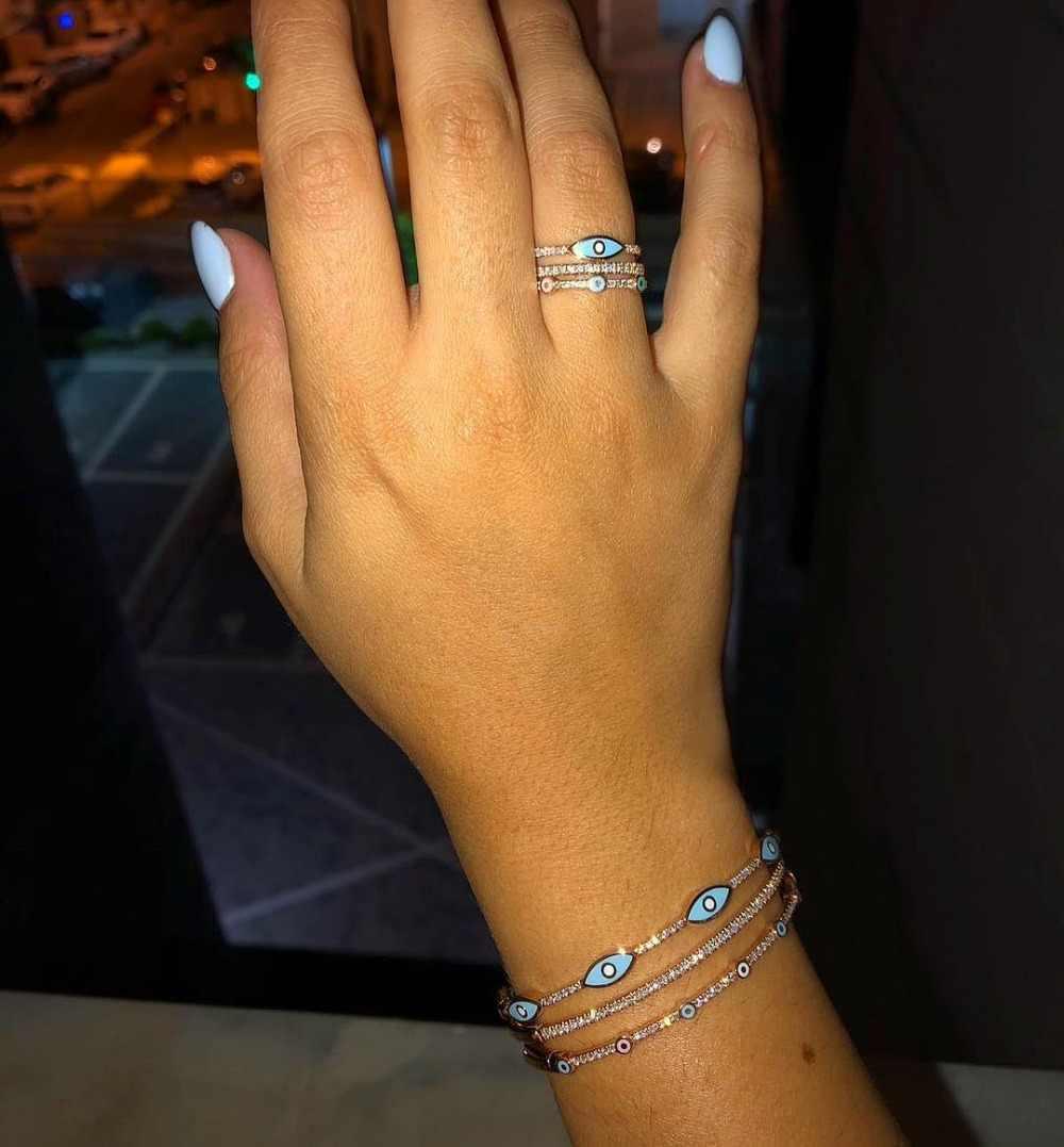 Rose gold สีคลาสสิกยุโรปเครื่องประดับ lucky เคลือบ eye finger แหวน