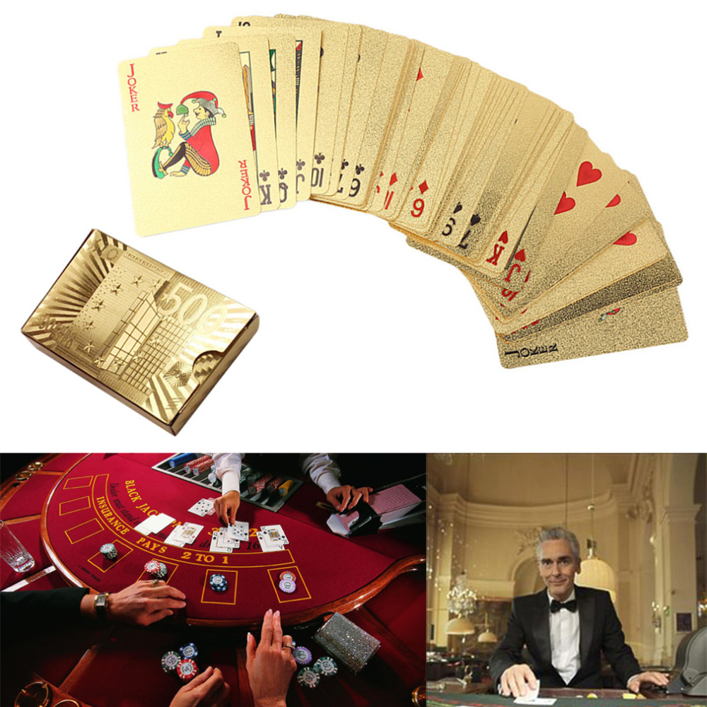 One Deck Gold Foil Poker Euros Style Poker Playing UNO Cards Game Waterproof Cards Family Fun Entertainment Gambling Board game