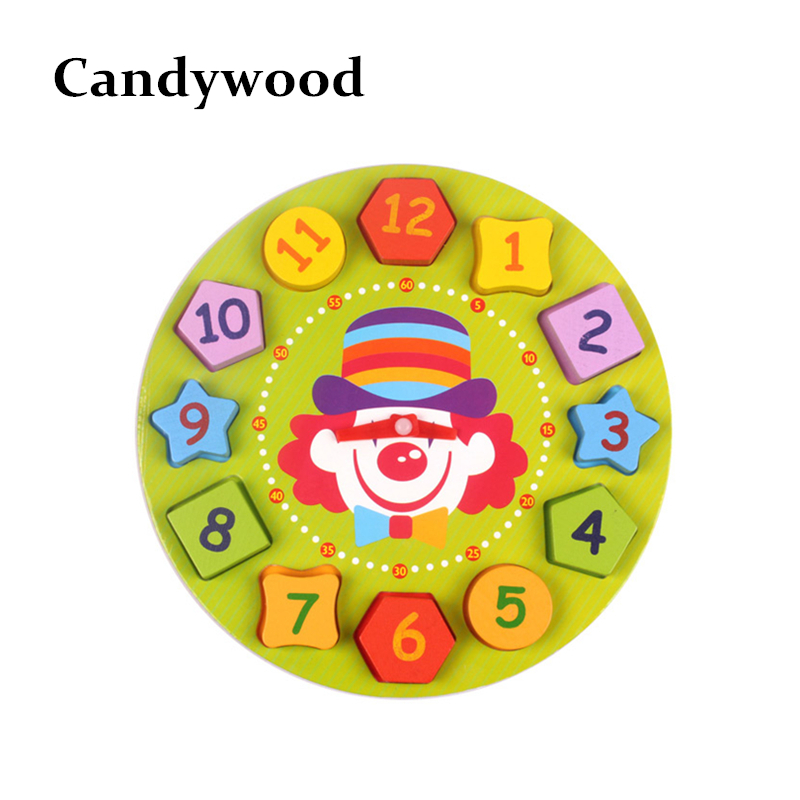 Kids Toys Wooden Blocks Clown Bear Digital Geometry Clock Children Educational Toy For Baby Boy and Girl Gift купить