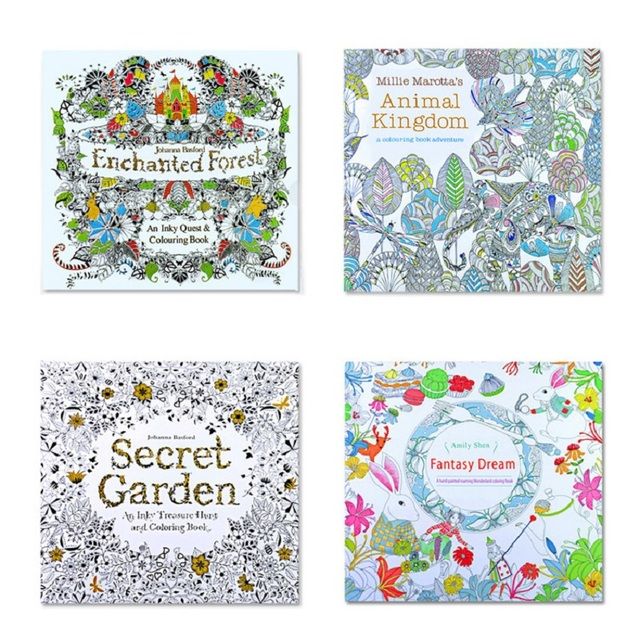 4pcs English Edition Secret Garden+fantasy Dream +animal Kingdom Coloring Book Children Adults Colouring Book Each Book 24 Pages